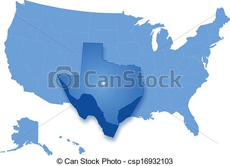 Vector Clipart of Map of States of the United States where Texas.