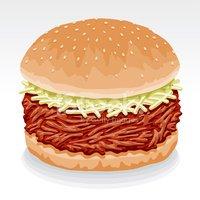 Pulled Pork Sandwich stock vectors.
