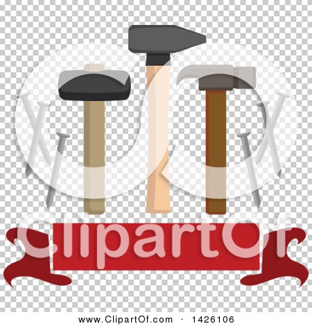 Clipart of a Hammer, Mallet, Nail Puller, Metal Nails over a Blank.