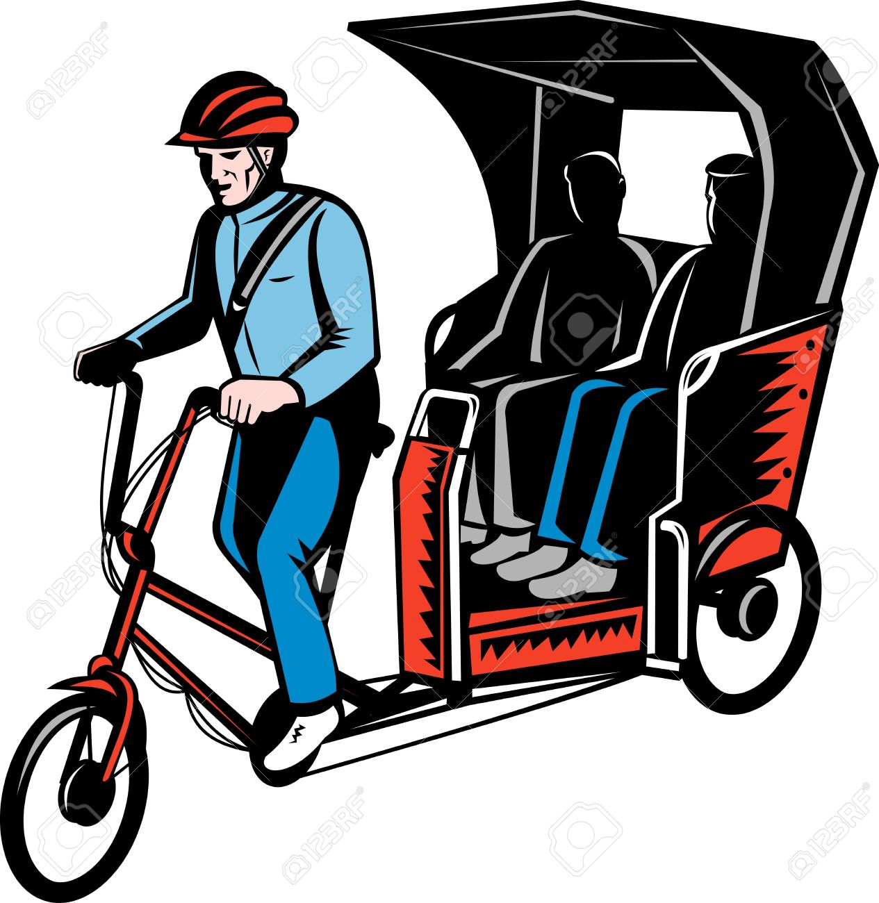 Illustration Of A Cycle Rickshaw With Driver And Two Passenger.