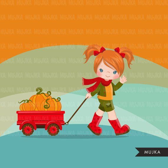 Little girl FALL clipart, cute characters pulling a cart or.