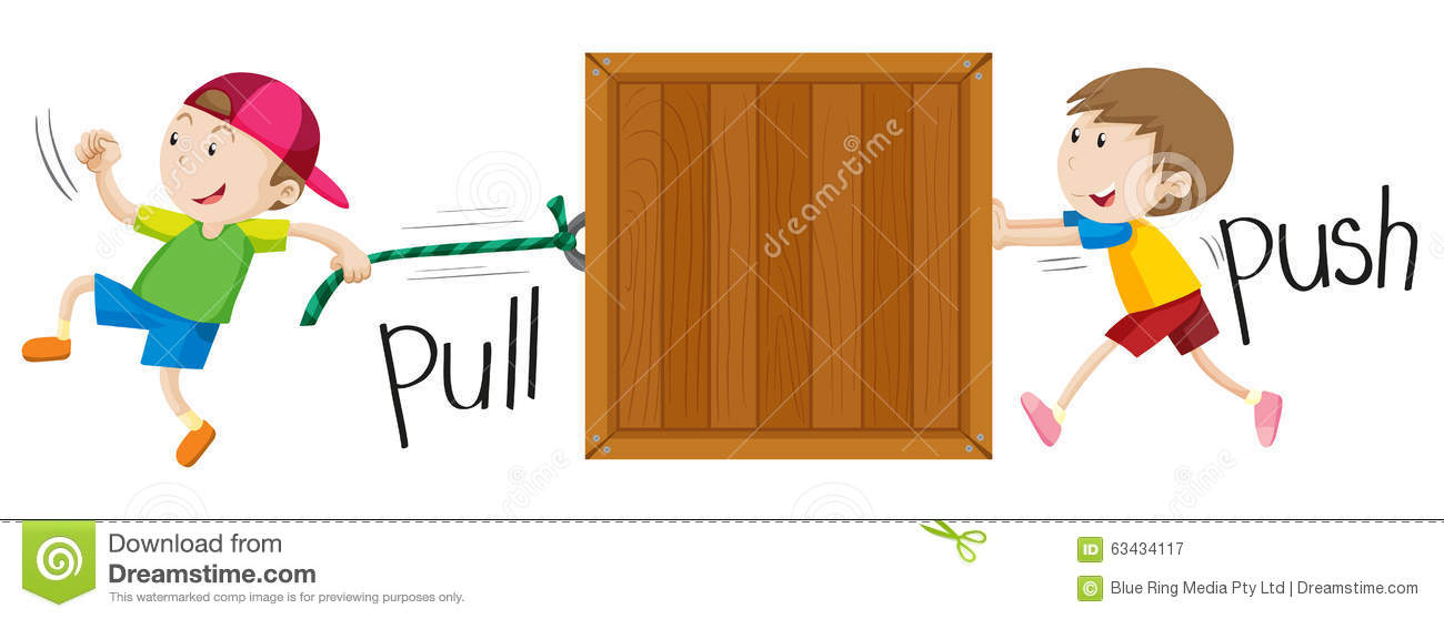 Boy Pulling And Pushing Wooden Box Stock Vector.