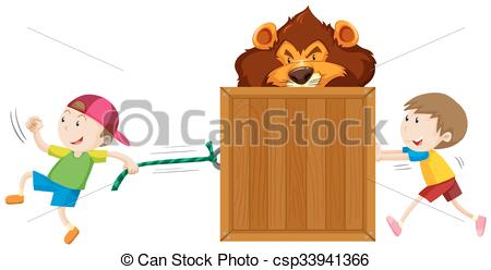 Clip Art Vector of Boys pulling and pushing box of tiger.