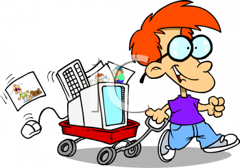 Royalty Free Clip Art Image: Little Boy Pulling a Wagon with a.