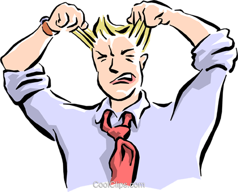 man pulling his hair out Royalty Free Vector Clip Art.