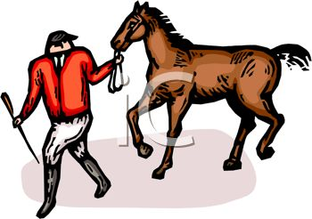 Picture of a Jockey Pulling His Horse In a Vector Clip Art.