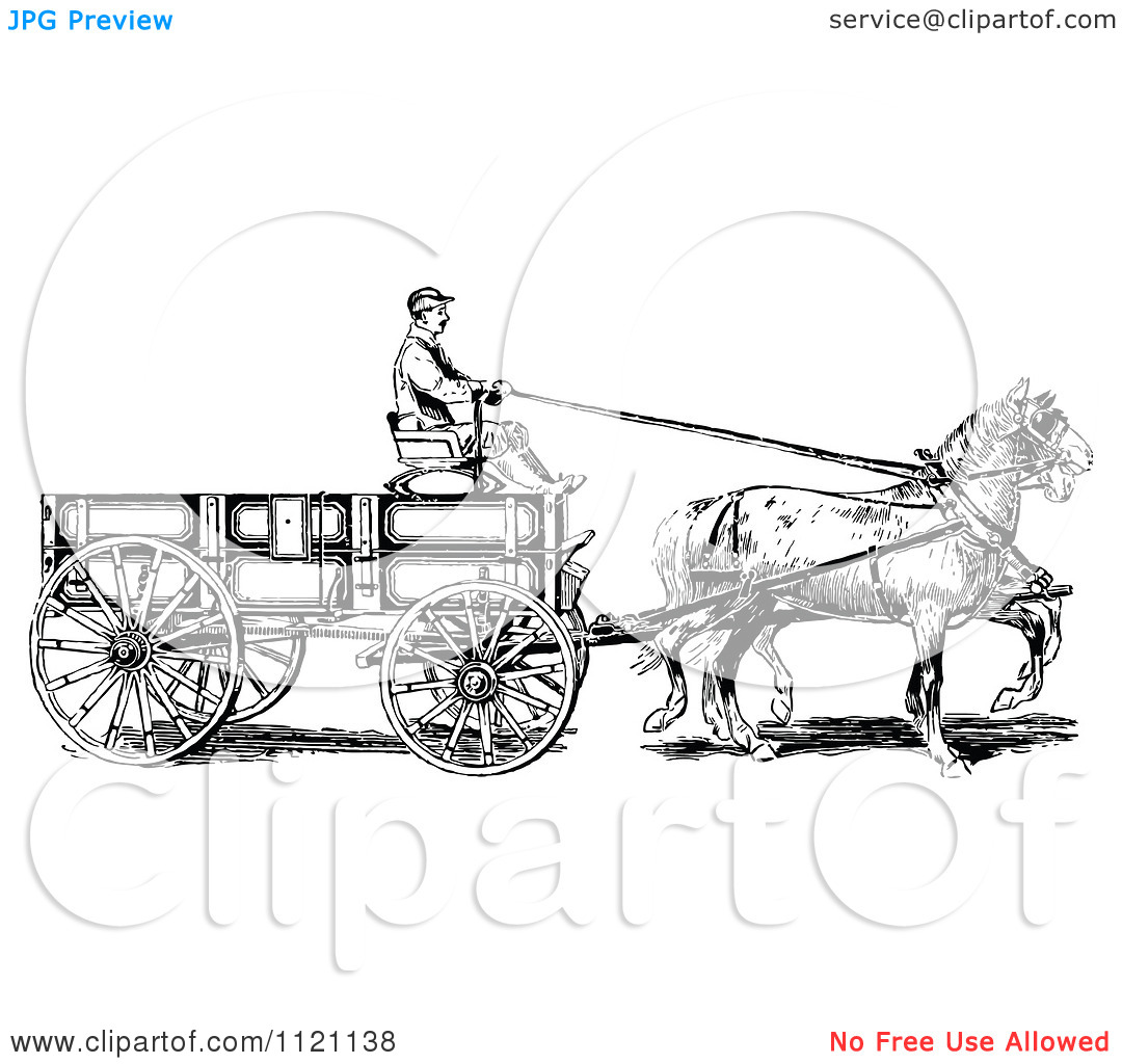 Clipart Of A Retro Vintage Black And White Horse Pulling A Wagon.