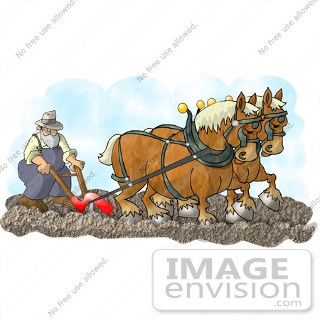 Work horses pulling clipart.