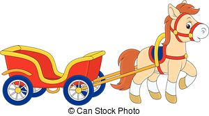 EPS Vectors of Pony with a cart.