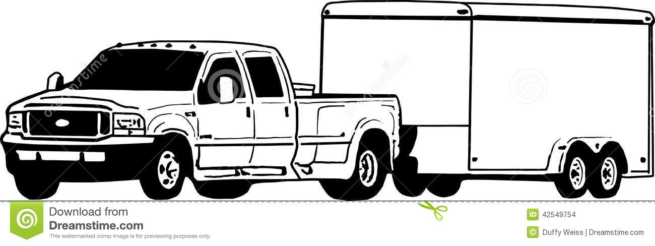 Truck Pulling Utility Trailer Clipart.