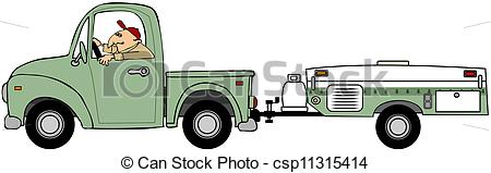 Clipart of Man pulling a tent trailer.