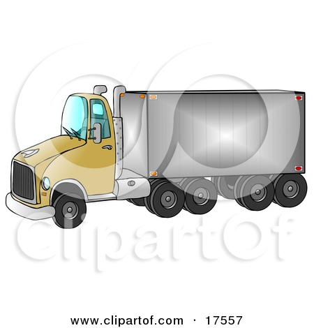 Clipart Ilustration of a Yellow Big Rig Truck Pulling A Shiny.