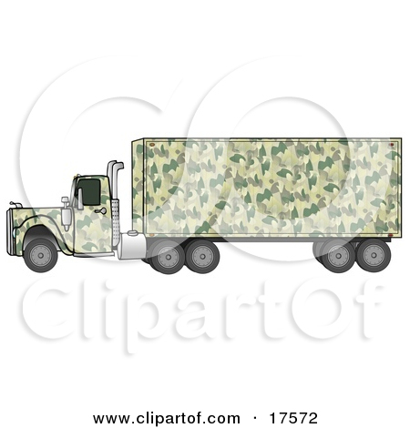 Clipart Illustration of a Green Camouflage Semi Diesel Truck.