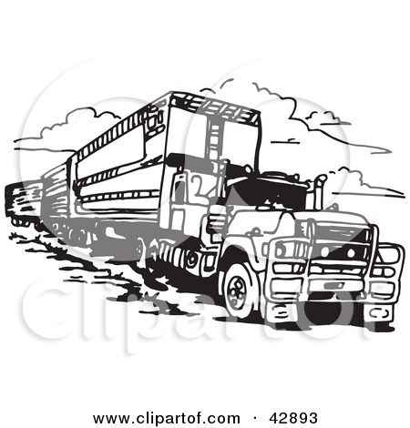 Clipart Illustration of a Black and White Truck Pulling a Train by.