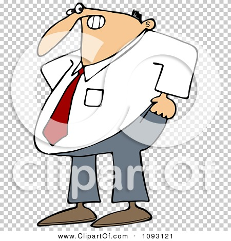 Clipart Frustrated Businessman Trying To Pull His Pants Up Over.