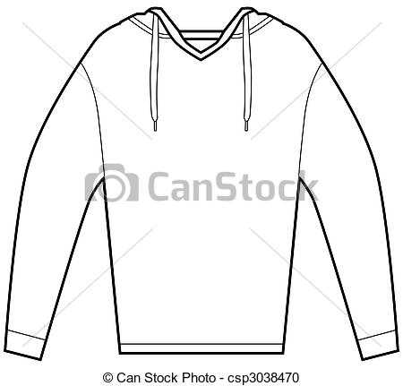 Vector Clipart of Hooded Pullover Shirt.