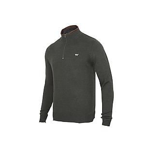 Men Acrylic Pullover Mid Zipper.