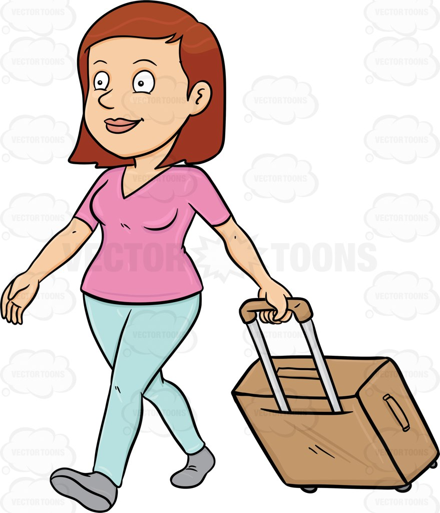 A Female Tourist Tourist Walks While Pulling Her Luggage Cartoon.