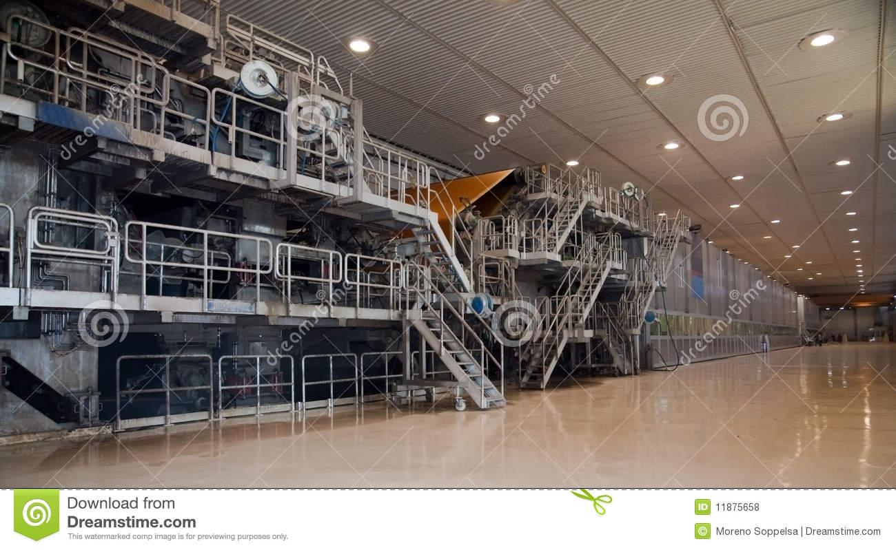 Paper Mill Machine Stock Photo.