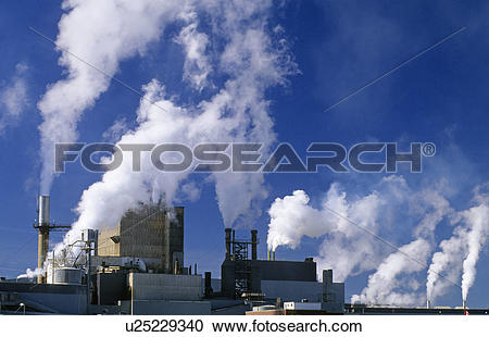 Stock Photography of air pollution from pulp and paper mill.