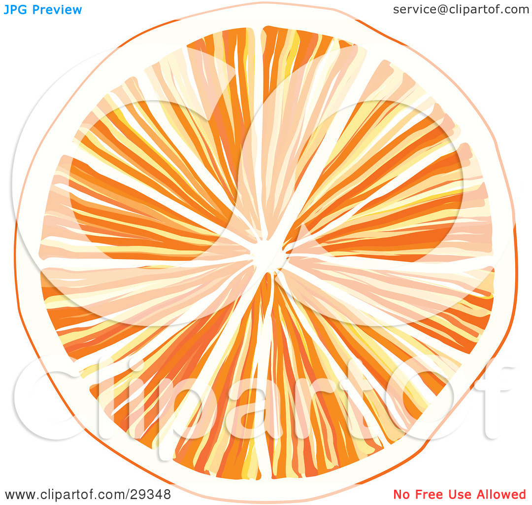 Clipart Illustration of a Slice Of Orange With Juicy Pulp, Over A.