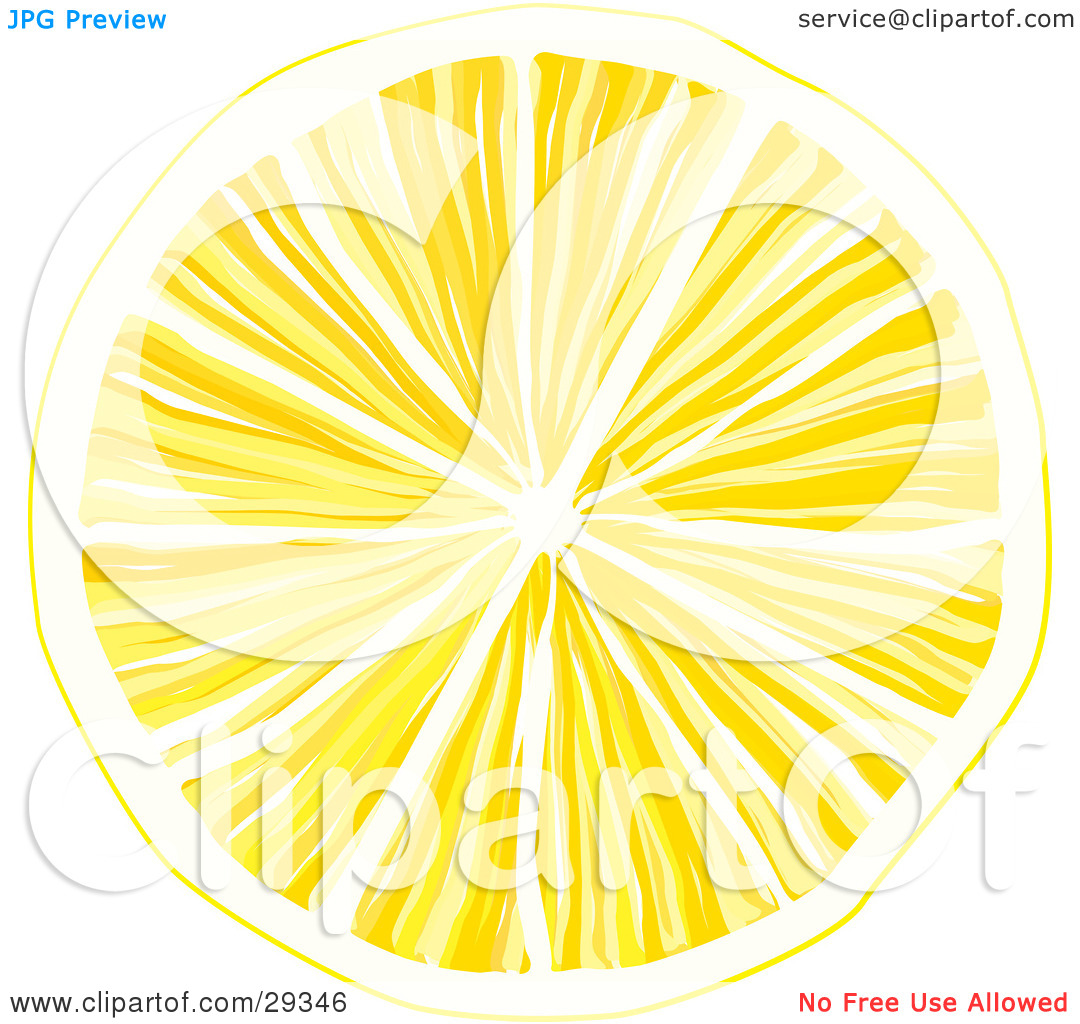 Clipart Illustration of a Slice Of Yellow Lemon With Juicy Pulp.