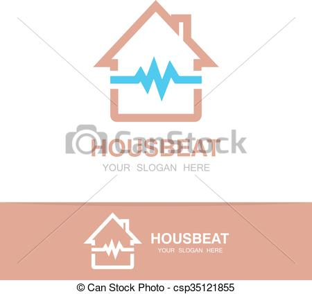 Clipart Vector of Vector pulsating house logo.