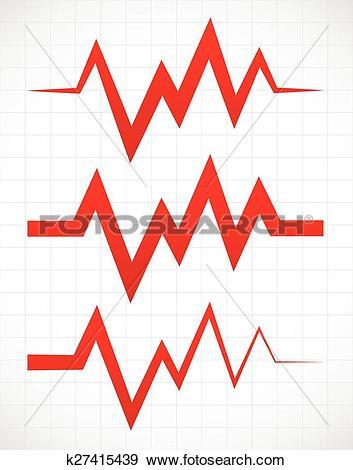 Clip Art of Irregular pulsating or ECG lines over gridded.
