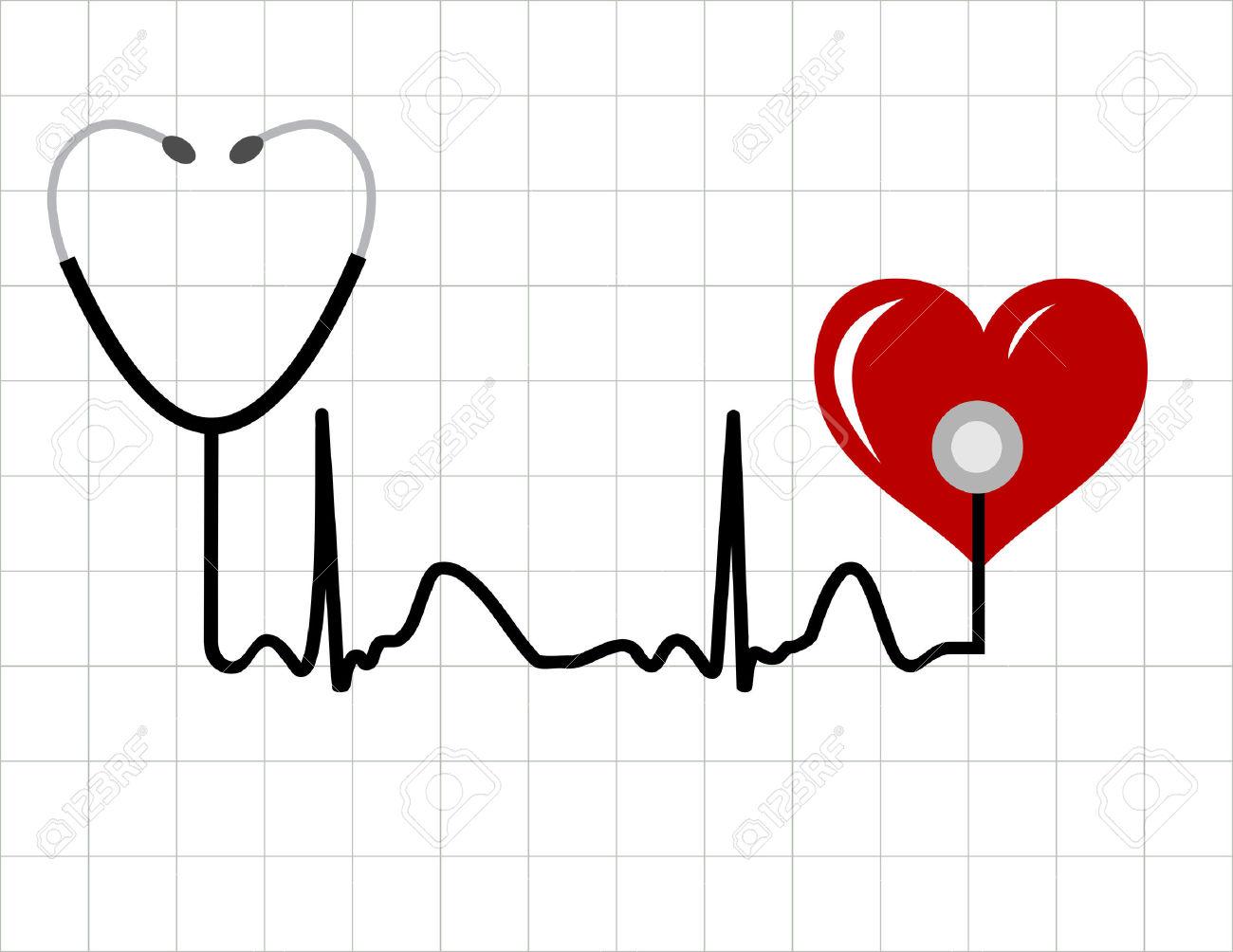 Coeur Et Un Stéthoscope Médical Avec Le Symbole De La Pulsation.