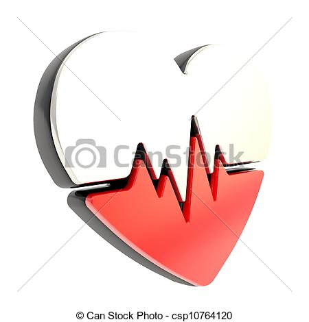 Clip Art of Heart pulse beat and health issues emblem icon.