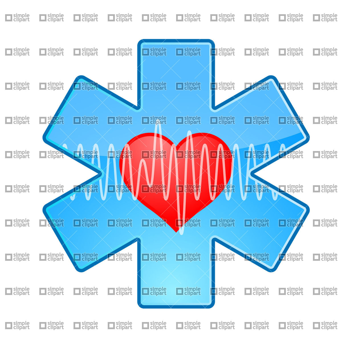 Medical symbol with heart and pulse trace Vector Image #21662.