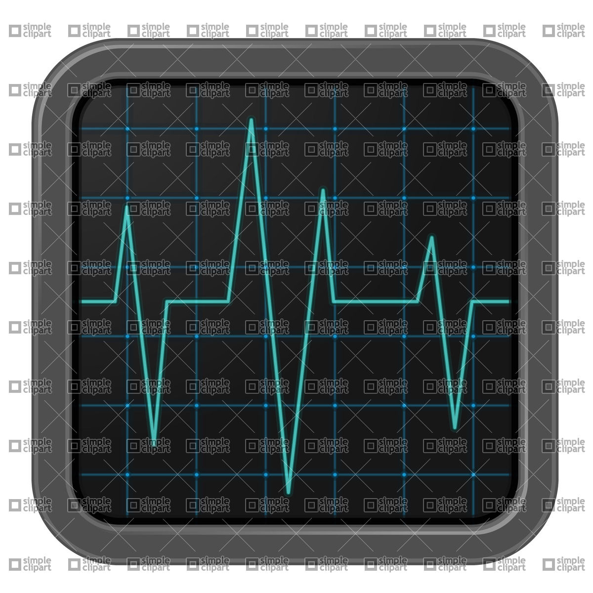 Oscillograph icon with pulse trace Vector Image #21704.