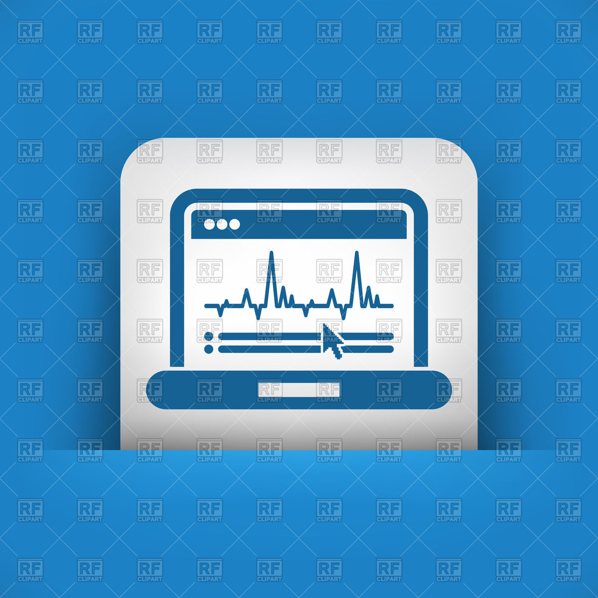 Heartbeat (pulse trace) cardiogram on laptop's screen Vector Image.