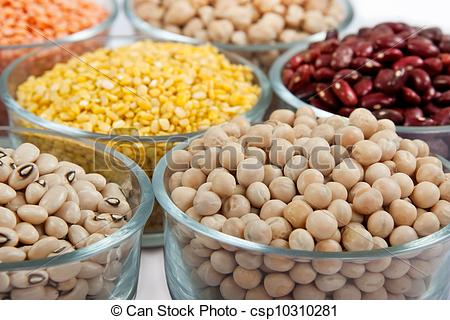 Pictures of Grains pulses and beans in bowl over white over.
