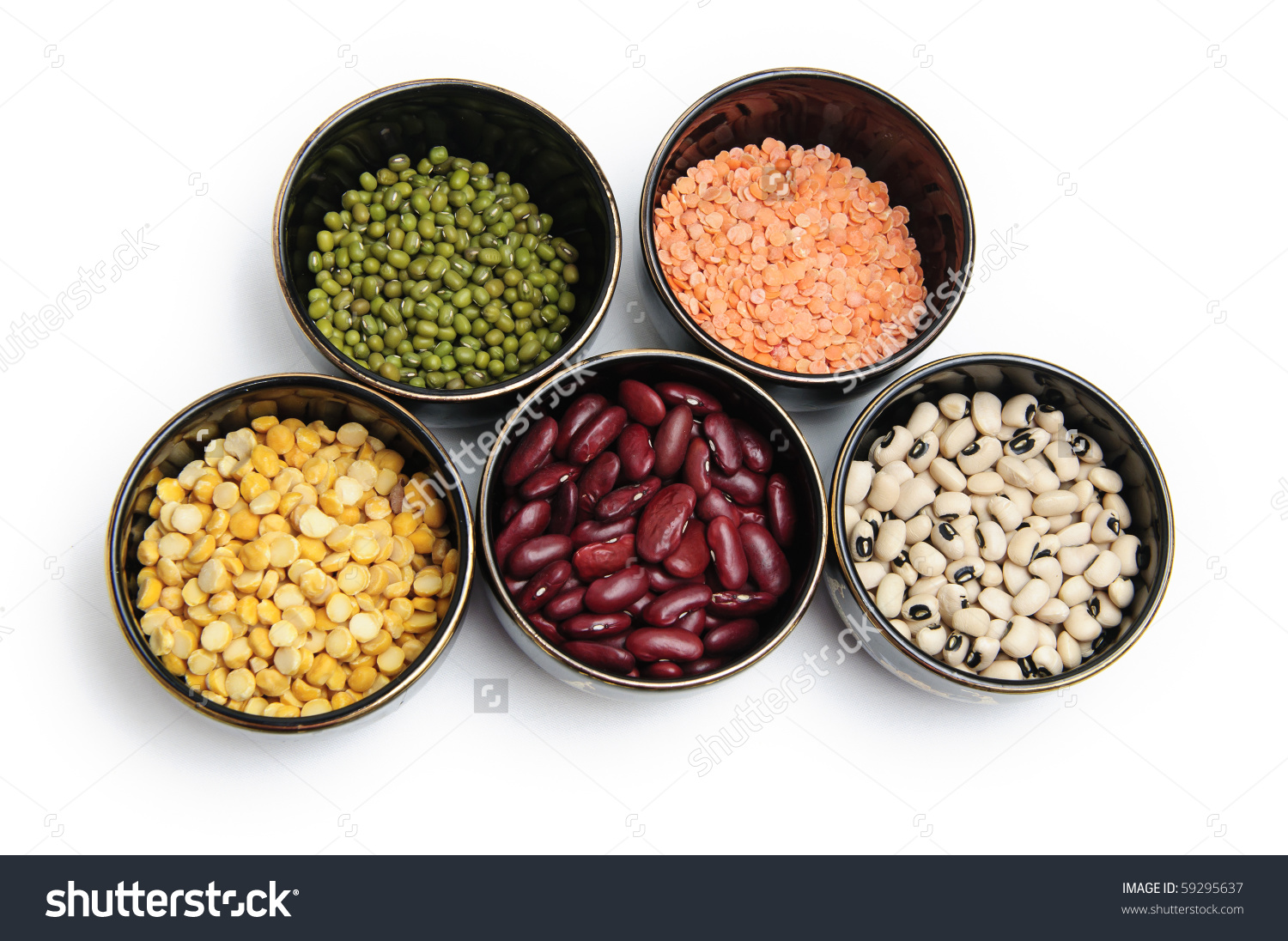 Various Lentils Pulses On White Background Stock Photo 59295637.