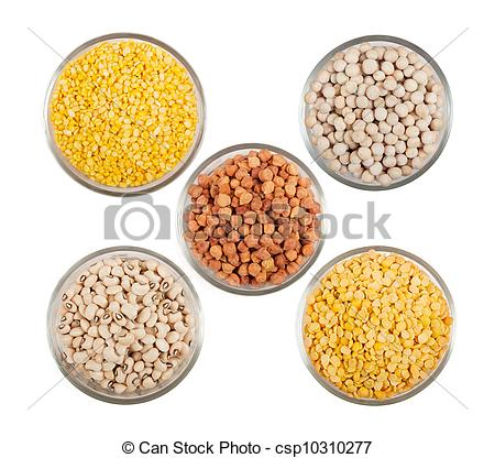 Picture of Grains pulses and beans in bowl over white over.