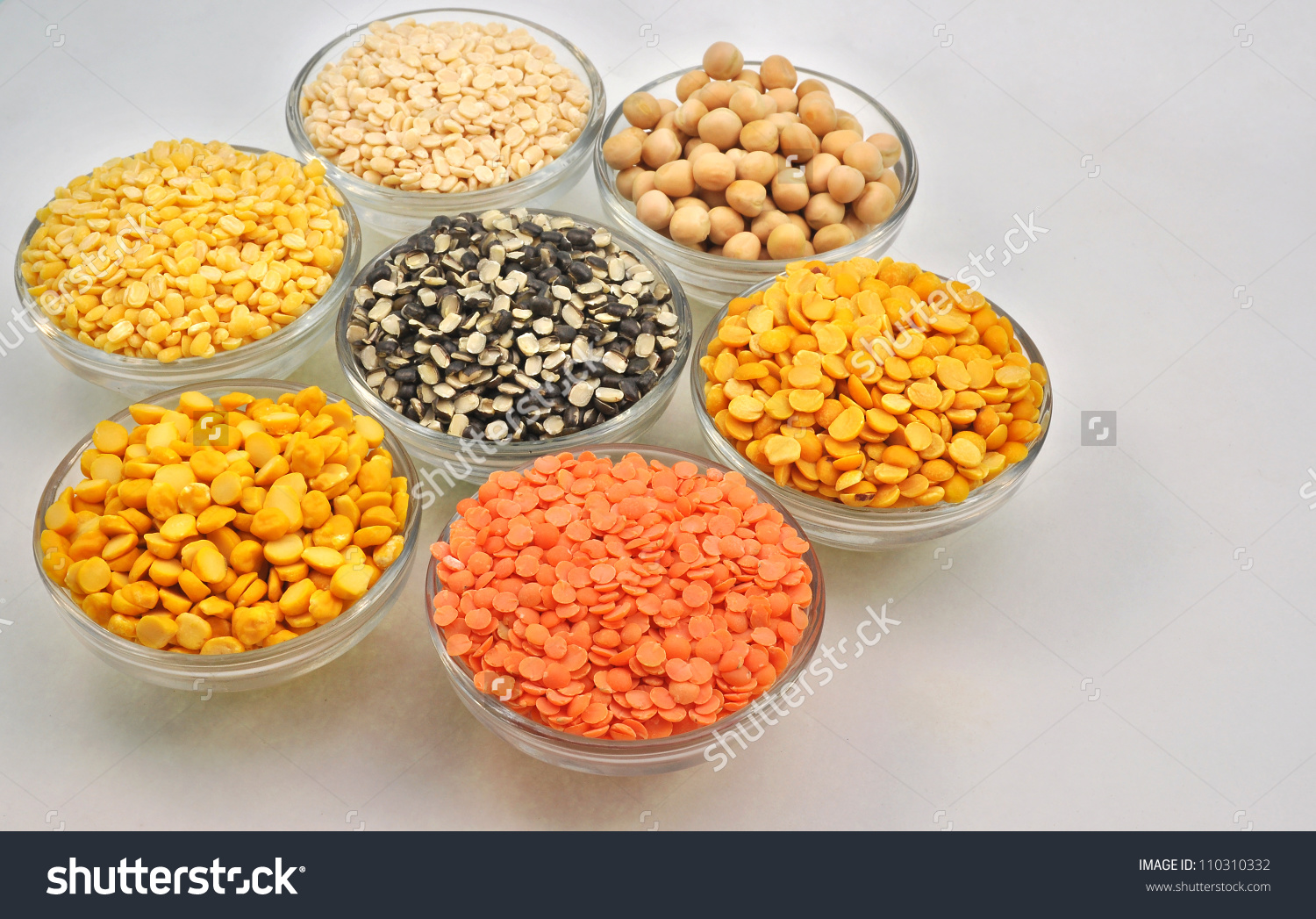 Close Top View Variety Husked Pulses Stock Photo 110310332.