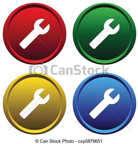 Vector Clip Art of Plastic buttons with a tool.