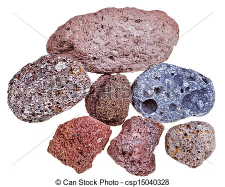 Stock Photo of porous pumice stones isolated on white background.