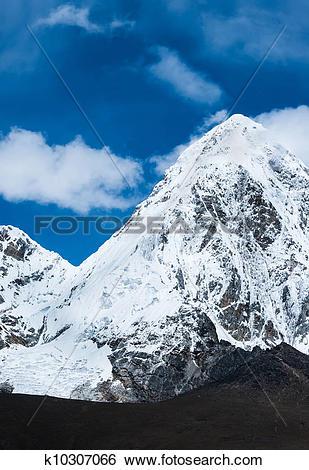Stock Images of Kalapathar and Pumori summits in Himalaya.