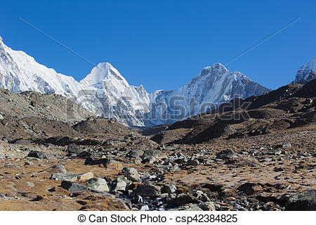 Stock Photo of beautiful mountain landscape on the way to everest.