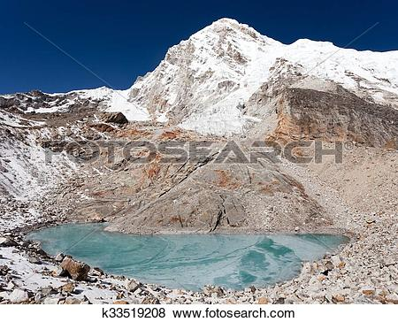 Pictures of View of mount Pumori or Pumo Ri from Pumori base camp.
