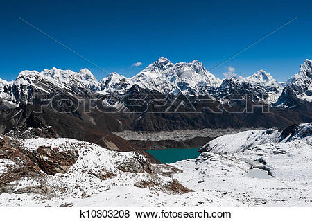 Pictures of Famous peaks view from Renjo Pass: Everest, Makalu.