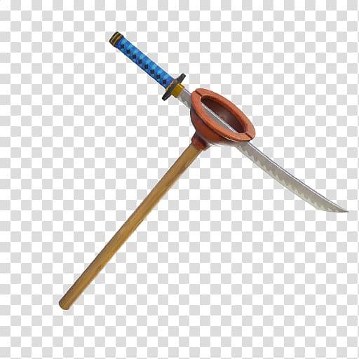 Katana sword slicing toilet pump, Fortnite Battle Royale.