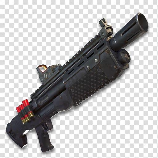 Black pump action shotgun, Fortnite Battle Royale Firearm.