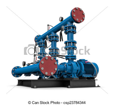 Drawing of Technology: illustration pump station of water.