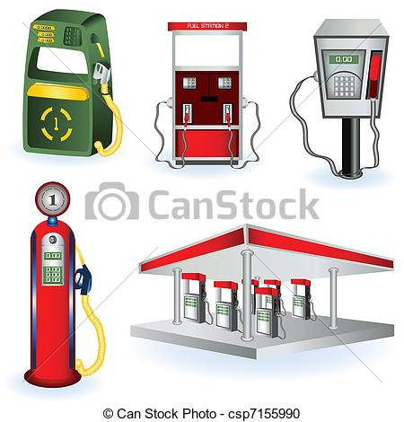 Vector Clipart of Fuel Station Pump Icons.