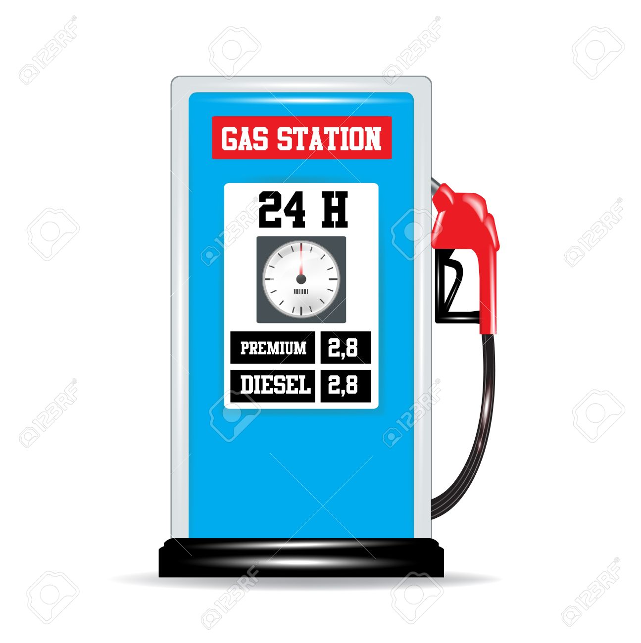 Gas Pump Nozzle And Gas Station Isolated Royalty Free Cliparts.