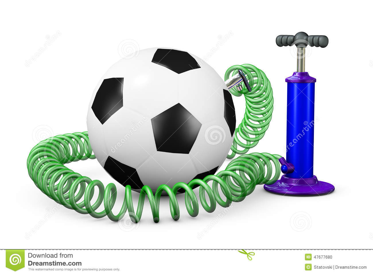 Pump Pumps Up Air In A Ball Stock Illustration.