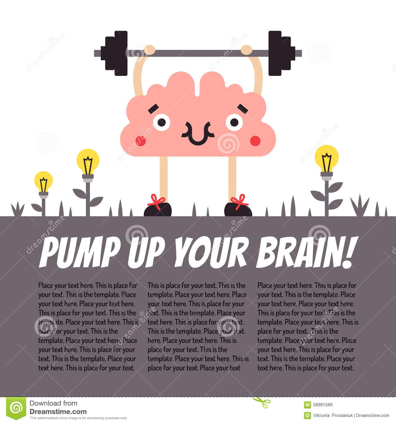 Pump Up Your Brain Vector Fun Illustration With Place For Your.